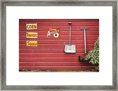 Corn. Tomatoes. Squash - Americana - Old Farm Signs Framed Print by Gary Heller