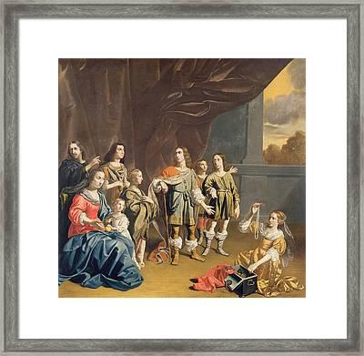 Cornelia And Her Jewels Oil On Canvas Framed Print by Jan van Bijlert or Bylert