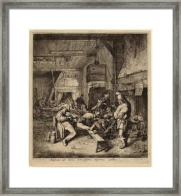 Cornelis Dusart Dutch, 1660 - 1704, Violin Player Seated Framed Print by Quint Lox