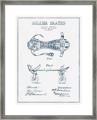 Cornelius Roller Skate Patent Drawing From 1881  - Blue Ink Framed Print