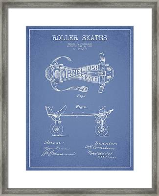 Cornelius Roller Skate Patent Drawing From 1881 - Light Blue Framed Print