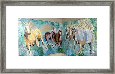 Corner Horses Framed Print by Vicky Tarcau