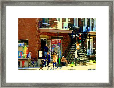 Corner Laurier Marche Maboule Depanneur Summer Stroll With Baby Carriage Montreal Street Scene Framed Print by Carole Spandau