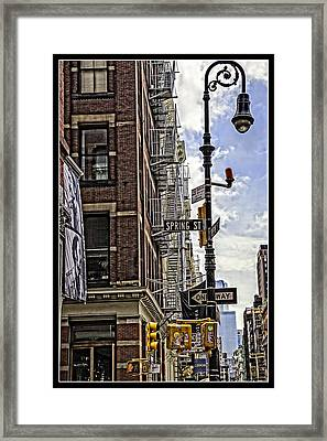 Corner Of Spring And Greene - Soho - Nyc Framed Print by Madeline Ellis