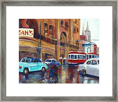 Corner St.catherine And Union Streets-fifties Montreal-vintage Street Scene Framed Print by Carole Spandau