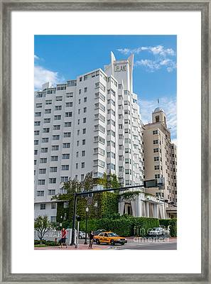 Corner View Of Delano Hotel And National Hotel- South Beach - Miami - Florida Framed Print