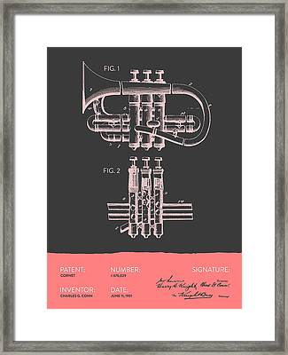 Cornet Patent Drawing From 1901 - Gray Salmon Framed Print by Aged Pixel