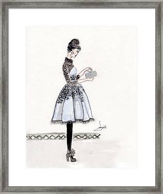 Cornflower Blue Dress Fashion Illustration Framed Print