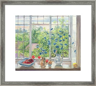 Cornflowers And Kitchen Garden Framed Print by Timothy Easton