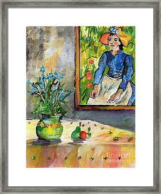 Cornflowers In French Pottery And Van Gogh Painting On Wall Framed Print by Ginette Callaway