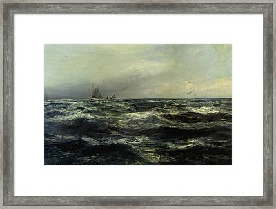 Cornish Sea And Working Boat Framed Print by Charles William Hemy