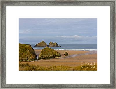 Cornish Seascape Holywell Bay Framed Print by Brian Roscorla