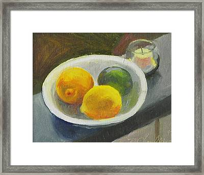 Corolla Green And Yellow Framed Print