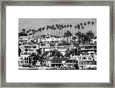 Corona Del Mar California Black And White Picture Framed Print