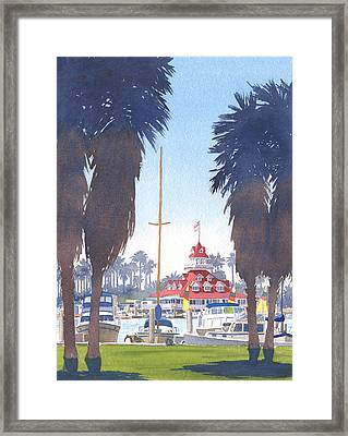 Coronado Boathouse And Palms Framed Print