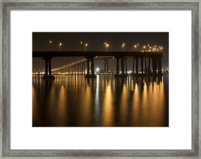 Coronado Bridge At Night Framed Print