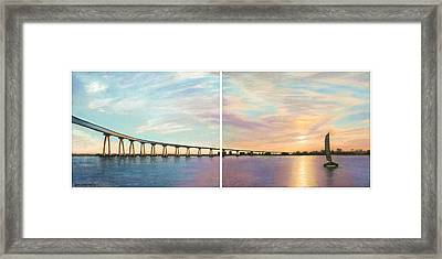 Coronado Bridge Sunset Diptych Framed Print