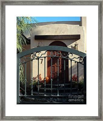 Coronado Gate And Door Framed Print by Barbie Corbett-Newmin