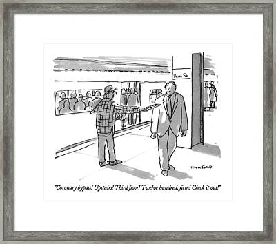 Coronary Bypass!  Upstairs!  Third Floor!  Twelve Framed Print by Michael Crawford
