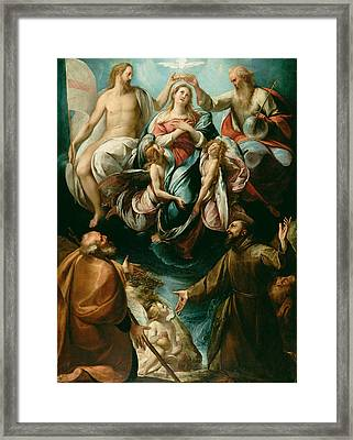 Coronation Of The Virgin With Saints Joseph And Francis Of Assisi Framed Print by Giulio Cesare Procaccini