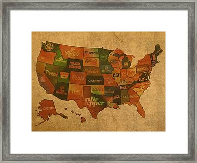 Corporate America Map Framed Print