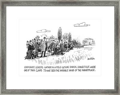 Corporate Leaders Gather In A Field Framed Print by Dana Fradon
