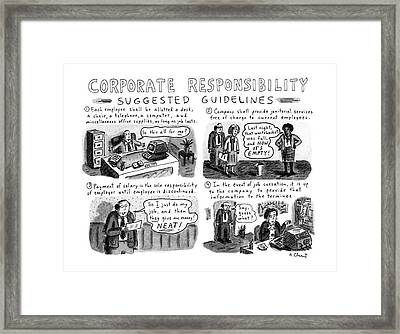 Corporate Responsibility Suggested Guidelines Framed Print by Roz Chas