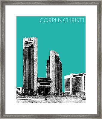 Corpus Christi Skyline - Teal Framed Print