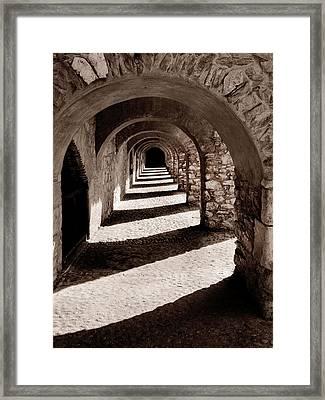 Corridors Of Stone Framed Print