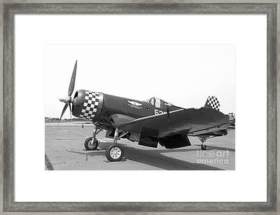 Corsair Fighter In Black And White Framed Print