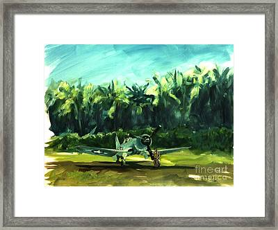 Framed Print featuring the painting Corsair In Jungle by Stephen Roberson
