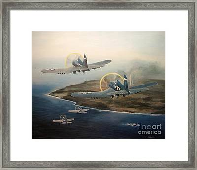 Corsairs Over Iwo Framed Print