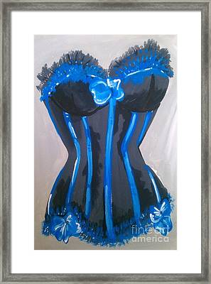 Framed Print featuring the painting Corset Blue Lace by Marisela Mungia