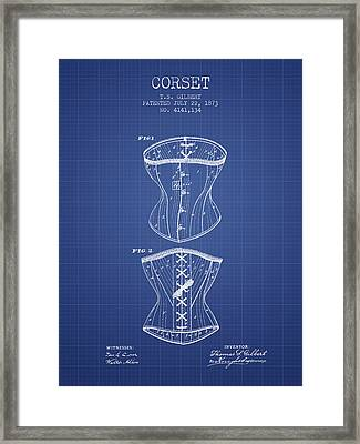 Corset Patent From 1873 - Blueprint Framed Print by Aged Pixel