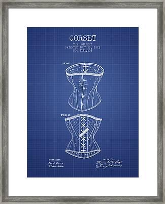 Corset Patent From 1873 - Blueprint Framed Print