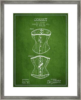 Corset Patent From 1873 - Green Framed Print by Aged Pixel