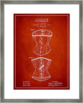 Corset Patent From 1873 - Red Framed Print