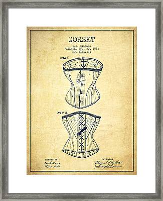 Corset Patent From 1873 - Vintage Framed Print by Aged Pixel