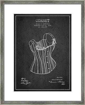 Corset Patent From 1882 - Dark Framed Print by Aged Pixel