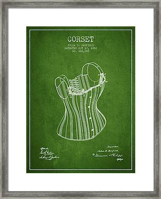 Corset Patent From 1882 - Green Framed Print by Aged Pixel