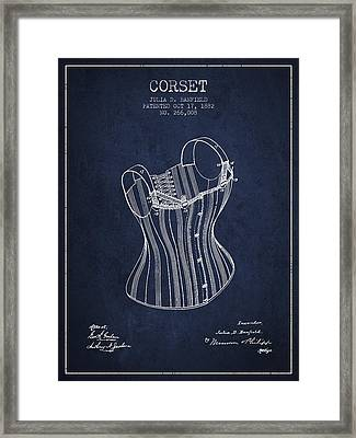 Corset Patent From 1882 - Navy Blue Framed Print by Aged Pixel