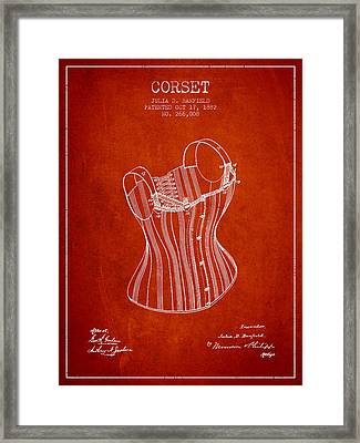 Corset Patent From 1882 - Red Framed Print by Aged Pixel