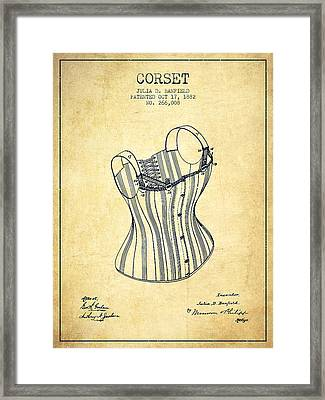 Corset Patent From 1882 - Vintage Framed Print by Aged Pixel