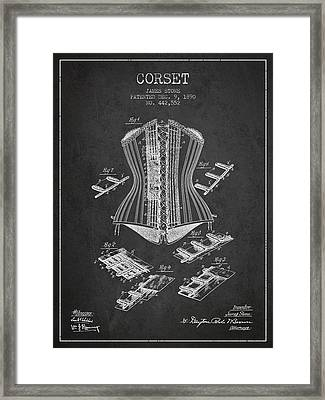 Corset Patent From 1890 - Dark Framed Print by Aged Pixel
