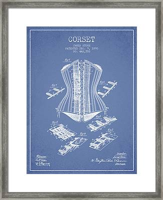 Corset Patent From 1890 - Light Blue Framed Print by Aged Pixel