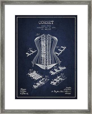Corset Patent From 1890 - Navy Blue Framed Print by Aged Pixel