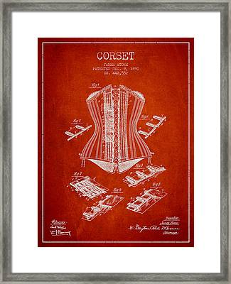 Corset Patent From 1890 - Red Framed Print by Aged Pixel