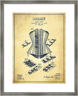 Corset Patent From 1890 - Vintage Framed Print by Aged Pixel