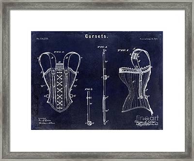 1874 Corsets Patent Blue Framed Print by Jon Neidert