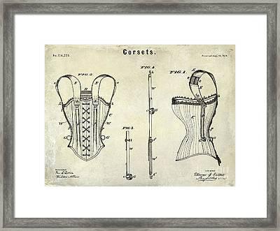 Corsets Patent 1874 Framed Print by Jon Neidert